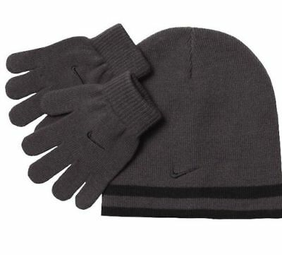 Nike Boys Knit Hat & Gloves Set 8-20 Beanie REVERSIBLE Winter BLACK GRAY Swoosh