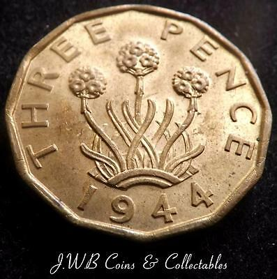 1944 George VI UK Brass Threepence Coin - High Grade