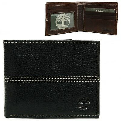 Timberland Men's Wallet Genuine Leather Pebble Grain Stitch Detail Slim Bifold