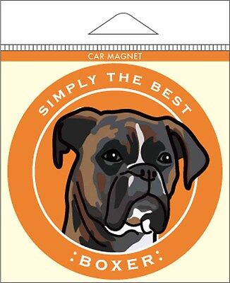 Boxer Car Magnet 4×4″ Brindle Uncropped