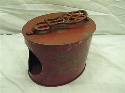 Primitive Red Tole Painted Tin Home Shoe Shine Oval Can Box Cast Iron Rest Tool