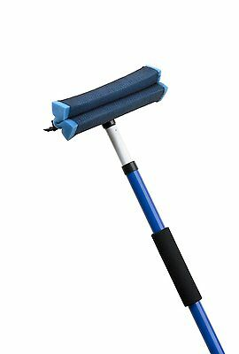 "(2) Ettore 59084 Telescopic 7 Ft. Auto Squeegee w/ 10"" Rubber Scrubber Head"