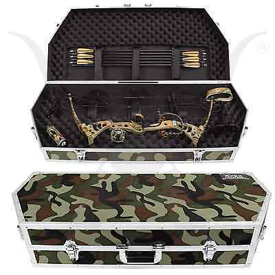 Deluxe Hard Camo Bow Case For Compound Bow Fully Padded Lockable Archery Storage