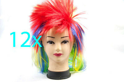 Bulk Lot x 12 Color MOHAWK Wig Straight Party Disco Fancy Dress Up Party Costume