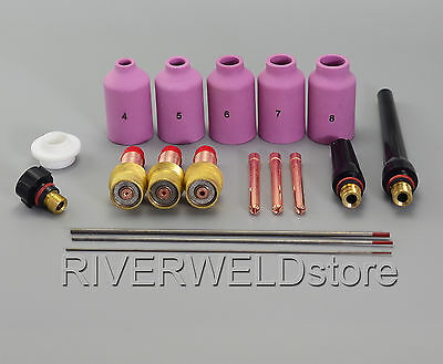 TIG Welding Torch Gas Lens Kit  2% Thoriated Tungsten Fit WP-17 WP-18 WP-26 18PK