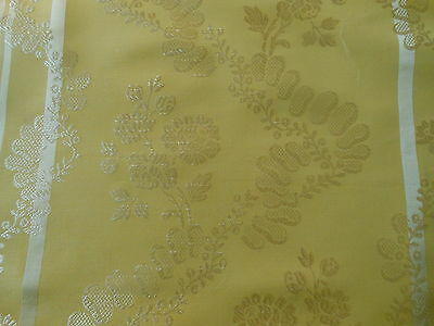 Vintage French Buttercream Yellow Satin Damask Fabric ~