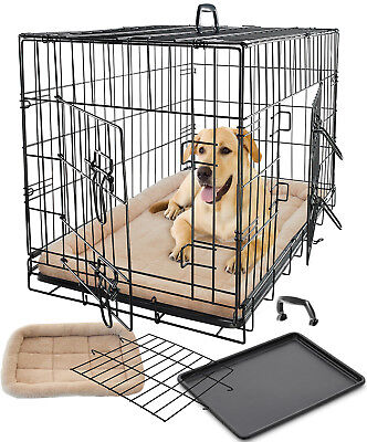 Pet Dog Cat Cage Crate Kennel and Bed Cushion Warm  Soft Cozy House Large