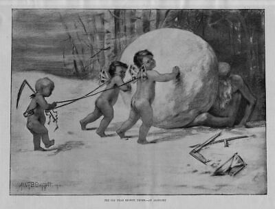 Cherubs Roll Snowball Over Father Time The Old Year Snowed Under An Allegory