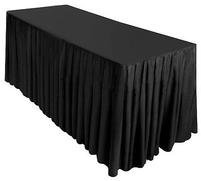 8' Fitted Table SKIRT Trade Show Wedding Banquet Catering Tablecloth Cover BLACK
