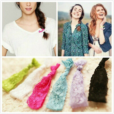 5Pcs/set Sweet Lace Hair Holder Knotted Rope Hairband Headband (Random Color)