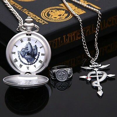 Metal Alchemist Pocket Watch Necklace Ring Edward Elric Anime Birthday gifts B