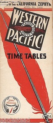 Railroad Timetable - Western Pacific - 26/04/53