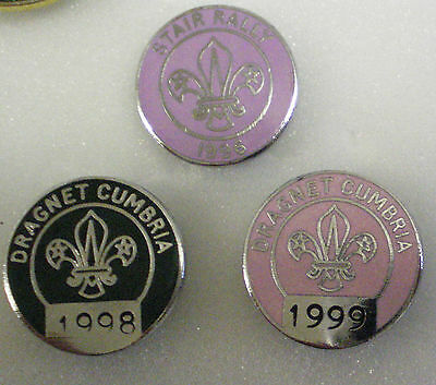 3 x Enamel Pin Badges BOY SCOUTS Lot5 STAIR RALLY & DRAGNET CUMBRIA Scouting