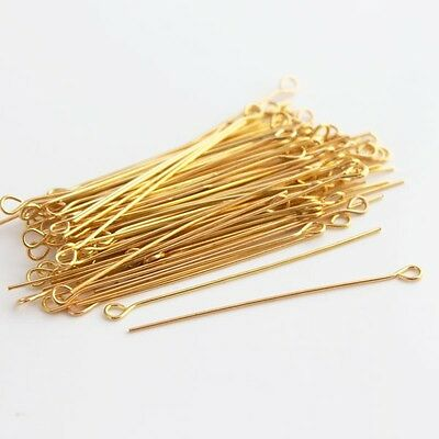 100 Eye Pins Gold Plated 50mm x 0.7mm 21 Guage Jewellery Making Findings J01661