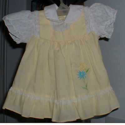Vintage 1940's Yellow & White Print Little Girl Dress Baby Doll Collar