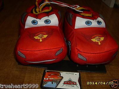 #1392 Disney Pixar Cars Boy Toddler 9/10 Med Red Mcqueen Slippers New With Tags