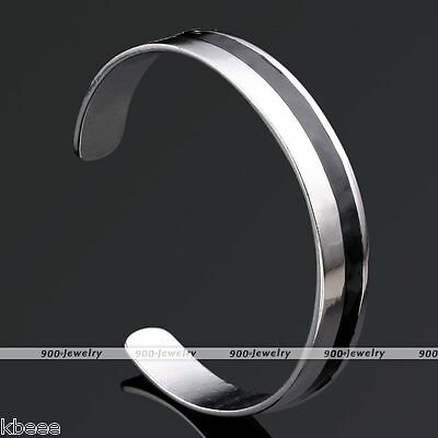 0.47'' Stainless Steel Solid Silver Black Mens Womens Bracelet Cuff Bangle Gift