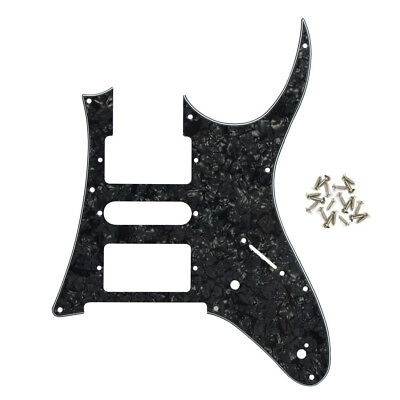 3Ply Black Pearl Ibanez RG Open Style Guitar Pickguard HSH 9 Hole Plate w/ Screw
