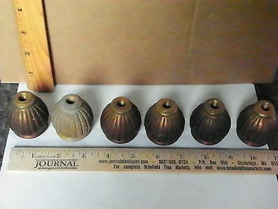 6 Antique Heavy Cast Bronze Ribbed Candle Cups  (3014)