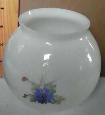 Very Unusual Floral Painted White Opal Down Burning Gas Shade (3022)