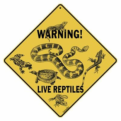 Warning Live Reptiles Sign NEW 12x12 Metal Snake Lizard Turtle
