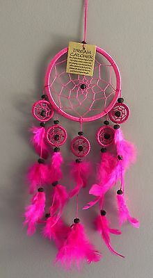HANDMADE NATIVE DREAMCATCHER IN HOT PINK dcle12tripin