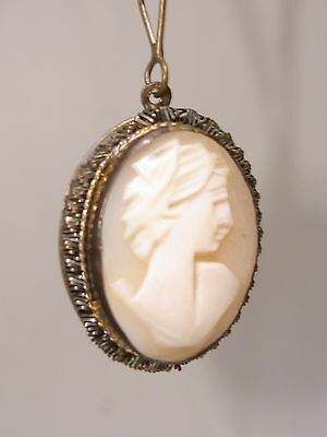 Antique Edwardian 1890's Carved Shell Cameo W/twisted Steel Trim Necklace!
