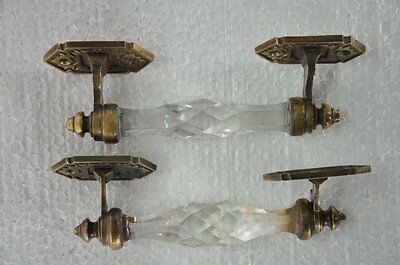 2 Pc Vintage Brass Unique Crafted Victorian Cut Glass Door Handle , Collectible