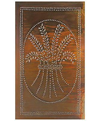 Country new distressed rusty tin punched WHEAT cabinet tin panel/ 10 x14/ nice