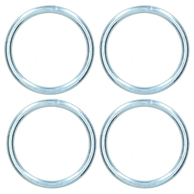 8mm x 75mm Steel Round O Rings Welded Zinc Plated 4 Pack DK34