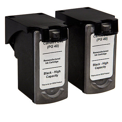 Non-OEM Remanufactured PG-40 Black Ink Cartridge - Twin Pack for Canon