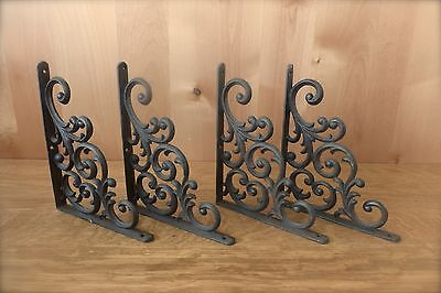 "4 BROWN ANTIQUE-STYLE  9.5"" SHELF BRACKETS CAST IRON garden rustic LEAF & VINE"