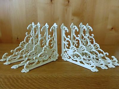 "8 WHITE ANTIQUE-STYLE 8"" SHELF BRACKETS CAST IRON garden wall rustic VICTORIAN"