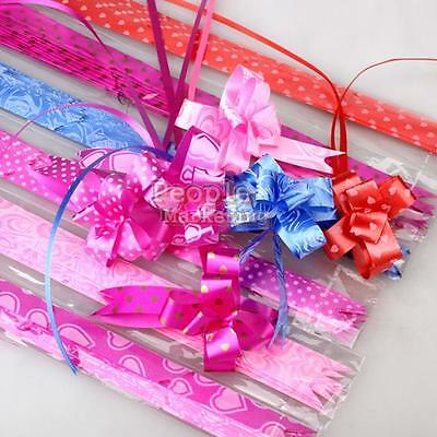 Multipattern Gift Wrap Color Pull Bow Flower Wedding Birthday Party Decoration