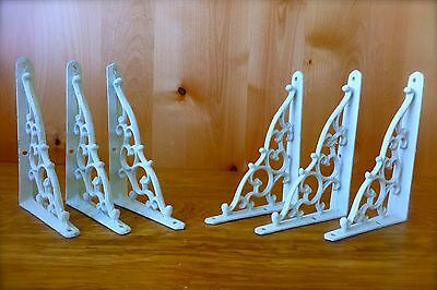 "6 WHITE ANTIQUE-STYLE 7"" SHELF BRACKETS CAST IRON rustic wall garden CLASSIC"