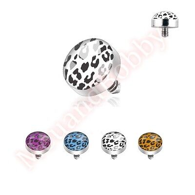 1 X 14G Leopard Print Dome Top Internally Threaded Dermal Anchor Spare Part