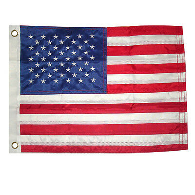 "12x18"" American US Flag Embroidered Nylon MOTORCYCLE BOAT USA Sewn Grommet"