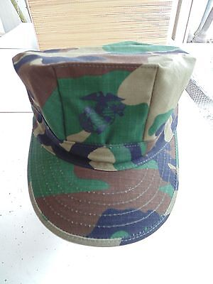 Usmc Us Marine Corps Ripstop Woodland Bdu Camo Combat Cap 8 Point Cover Size Lg