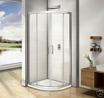 Offset Quadrant Shower Enclosure Walk In Cubicle Sliding Glass Door And Tray V8