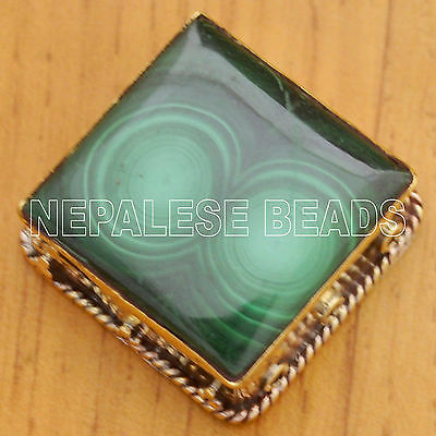 Malachite Brass focal Beads Tibetan Nepalese Handmade Ethnic Tribal Nepal BD2383