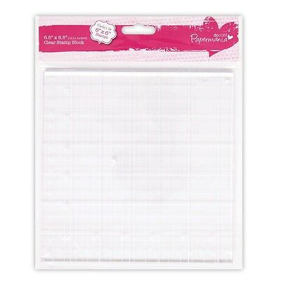 "Papermania clear acrylic stamp block 6.5"" square with gridlines"
