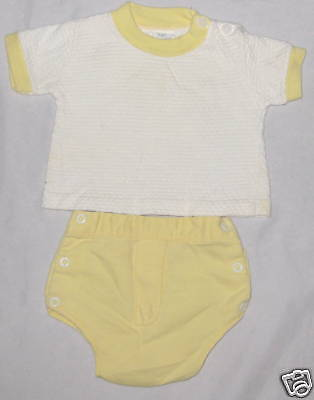Knit  2 Pc Yellow Baby Clothes Outfit Set - Size 12 MO
