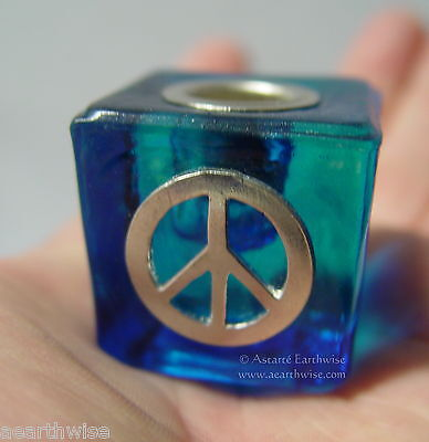 PEACE SIGN AQUA GLASS SPELL CANDLE HOLDER Wicca Pagan Witch Goth Altar HIPPIE