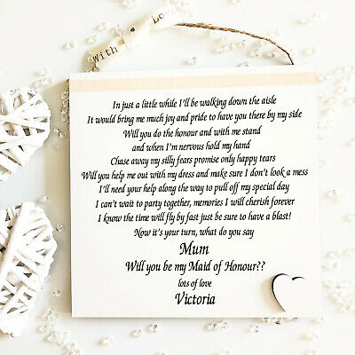 Will you be Bridesmaid Maid of Honour Personalised Wedding Plaque Gift W207