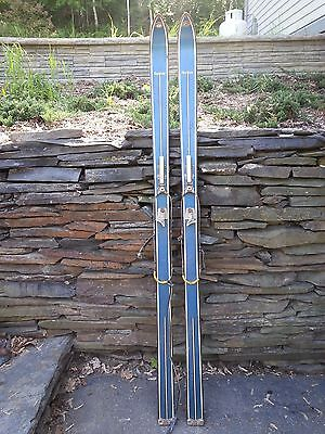 "VINTAGE Wooden 65"" Skis Has Cable Bindings BLUE Finish Signed NORTHLAND PEERLESS"