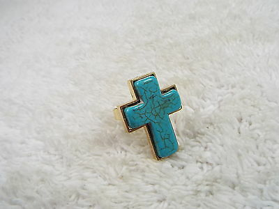 Goldtone Howlite Turquoise Blue Cross Adjustable Ring  (A31)