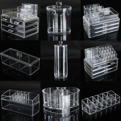 Clear Acrylic Cosmetic Organizer Makeup Case Holder Drawers Jewelry Storage Box