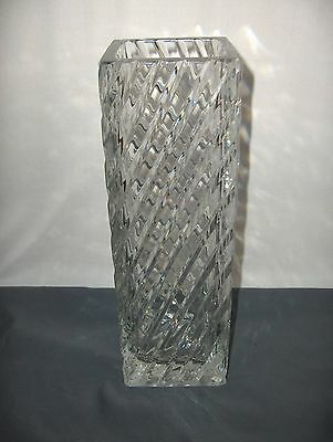 Vintage Cut Glass Crystal Tall Large Square Vase Diagonal Lines NICE