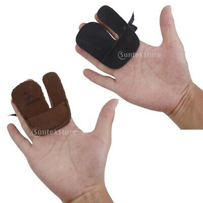 Hunting Shooting Archery Bow String Finger Protector Leather Finger Guard Tab