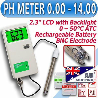 AU Shipping Rechargeable PH Meter Monitor Tester BNC probe BackIt LCD Adapter